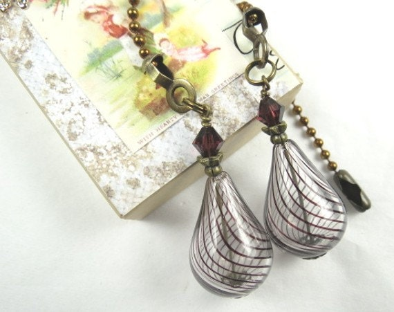 Chain Pull Pair for Ceiling Fan or Lamp with Dark Brown Striped Teardrop Hollow Glass Beads and Swarovski Crystal