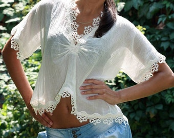 Cotton blouse with lace trim, v neck top, cottage chic blouse, boho chic top, Ivory lace blouse, romantic top, see trough blouse, peroto