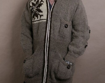 Men Cardigan, Long knitted cardigan, Organic wool jacket, Embroidered wool cardigan, Natural color cardigan, Warm cardigan, Gift for him