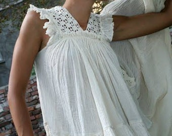 Cotton crocheted top, Crocheted Lace top, Cottage chic top, Cream cotton top, Bohemian chic top, ivory cotton top, Rustic beach blouse,