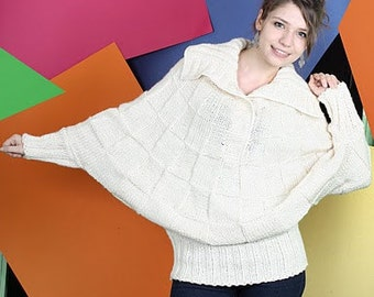 Batwing sweater I Designer knitwear, cream poncho, hand knitted poncho, oversize ladies sweater, ivory check pattern pullover, plus size