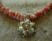 Bleached coral necklace with silver rose pendant