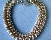 Two Tone Vertebrae Bracelet Chain maille Kit with Tutorial in 16 gauge Non Tarnish Silver & Gold, with toggle clasp and connector rings