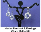 Chainmaille Kit with Tutorial - Vortex Pendant and Earrings in Argentium Sterling Silver