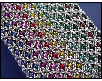 Chainmaille Kit with Tutorial  - CHOOSE your COLOR Byzantine Bracelet in Non Tarnish Silver Plate and Colored  Enameled  Jump Rings