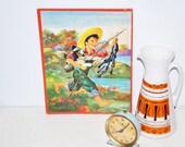 Vintage 1950s Farmer Boy Picture Nursery Art Puzzle
