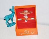 Adorable Vintage Orange Princess Ballerina Music Jewelry Box