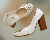 Vintage White Arezzo Silver Buckle Wood Heel Pumps