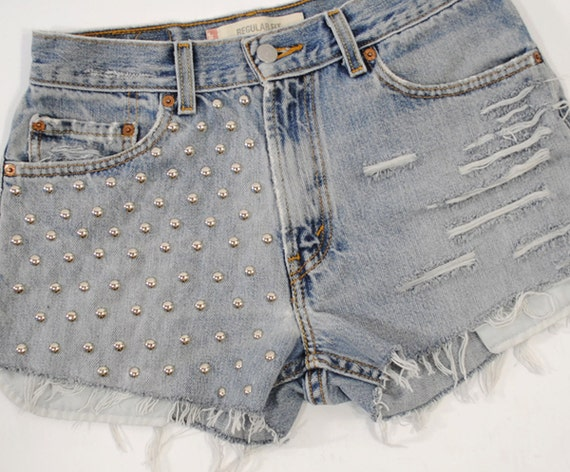 Torn And Frayed- Recycled Vintage Levis Studded Denim Cutoff Shorts- Size Large