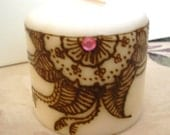 Intricate Henna Design on Pillar Candle - Handcrafted- Unique -