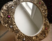 Mirror with Henna, Floral Design - One of a Kind Original, Unique Global Art