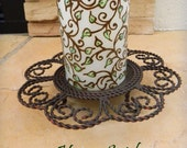 Flameless Candle with Henna, Shimmering Greens Design  - One of a Kind - Unique -