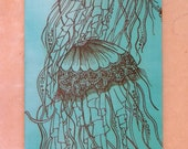Jellyfish Acrylic Painting with Henna, Mixed Media Painting, Unique, OOAK, Global Art, Free Shipping Worldwide