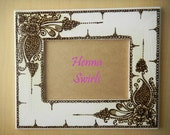 Henna Picture Frame - One of a Kind - Original - Henna Swirls- Modern Art
