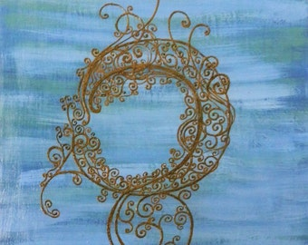 Acrylic Mixed Media Painting with Henna Design, Original  - Middle of the Night, Modern Global Art, Clearance Sale