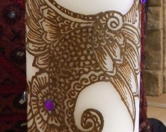 Peacock Candle, Pillar Candle with Henna Design Hand painted, Modern Candle Art