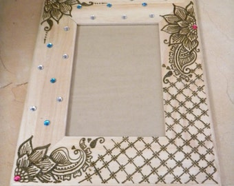 Picture Frame Decorate with Henna, Floral Pedals - Original - OOAK - Modern Global Art