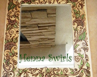 Mirror with Henna, Flower Henna Art - One of a Kind - Original - Henna Swirls