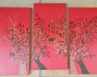 Henna on Acrylic Painting, Memories of a Fig Tree, Handpainted - OOAK, Original Global Art