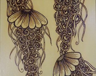 Jellyfish, Acrylic Mixed Media Painting with Henna Design, Unique, OOAK, Global Art, Free Shipping Worldwide