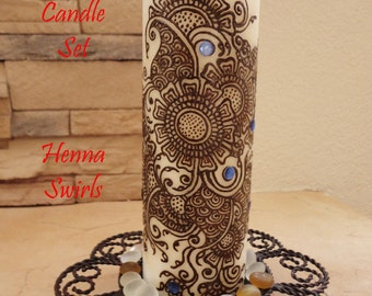 Candle Henna, Perfect wedding centerpiece, One of a Kind, Henna Art