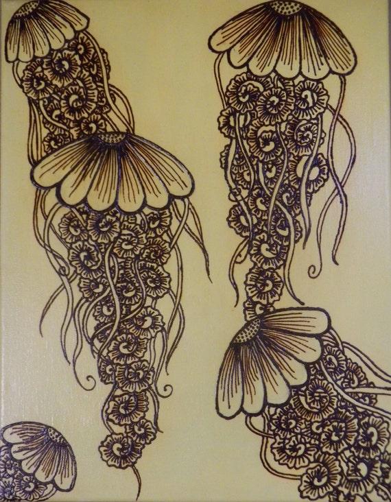 Jellyfish Acrylic Mixed Media Painting With Henna Design
