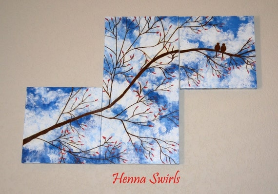 Original Tree Painting with Henna, Handpainted - OOAK, Original Global Art, Ready to Ship, SALE
