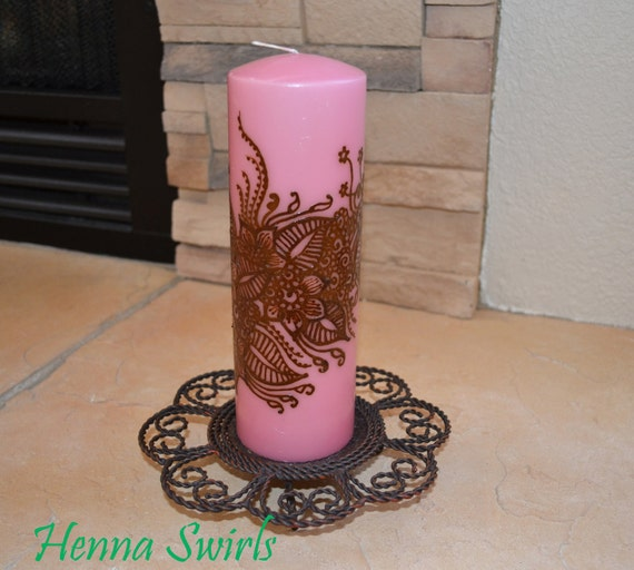 Pillar Henna candle with Handpainted floral design- Original - One of a Kind