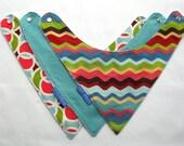 Baby Bibs- 3 Baby Bandana Bibs Designer  Fabrics - Ultimate Drool Bib