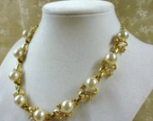 large faux pearl and rhinestone  at tiffany's necklace