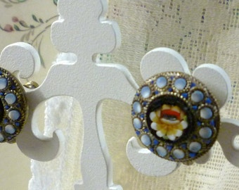 """signed """"Italy"""" mosaic earrings"""