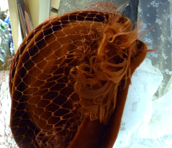 velvet, feathers and netting equals 1940's darling hat