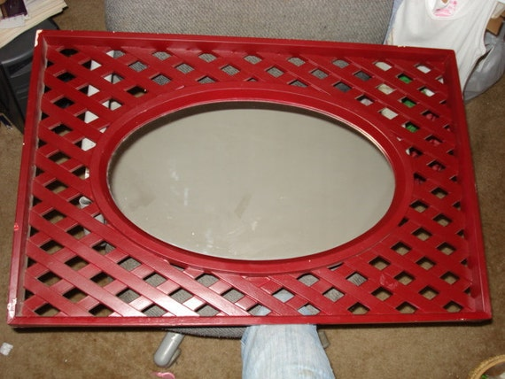 "Large Vintage Lattice Burwood Mirror 29"" x 19"" REDUCED"