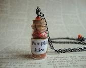 PUMPKIN JUICE - Harry Potter Inspired Vial Necklace With Swarovski Crystal and Gunmetal Orange Wizarding World Drink Beverage