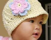 0 - 3 month Yellow Visor Beanie with flower - Baby Blue, Baby Pink, Yellow