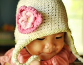 6 - 12 month Vanilla, Celery Ear flap Beanie with Flower - Hot pink, Pastel pink, Celery
