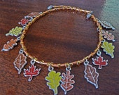 Autumn Equinox Leaf Charm Beaded Necklace - reserved for Chymiera