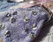 Lavender and Silver Beaded & Sequined Lace Purse - Heirloom Evening or Bridal OOAK