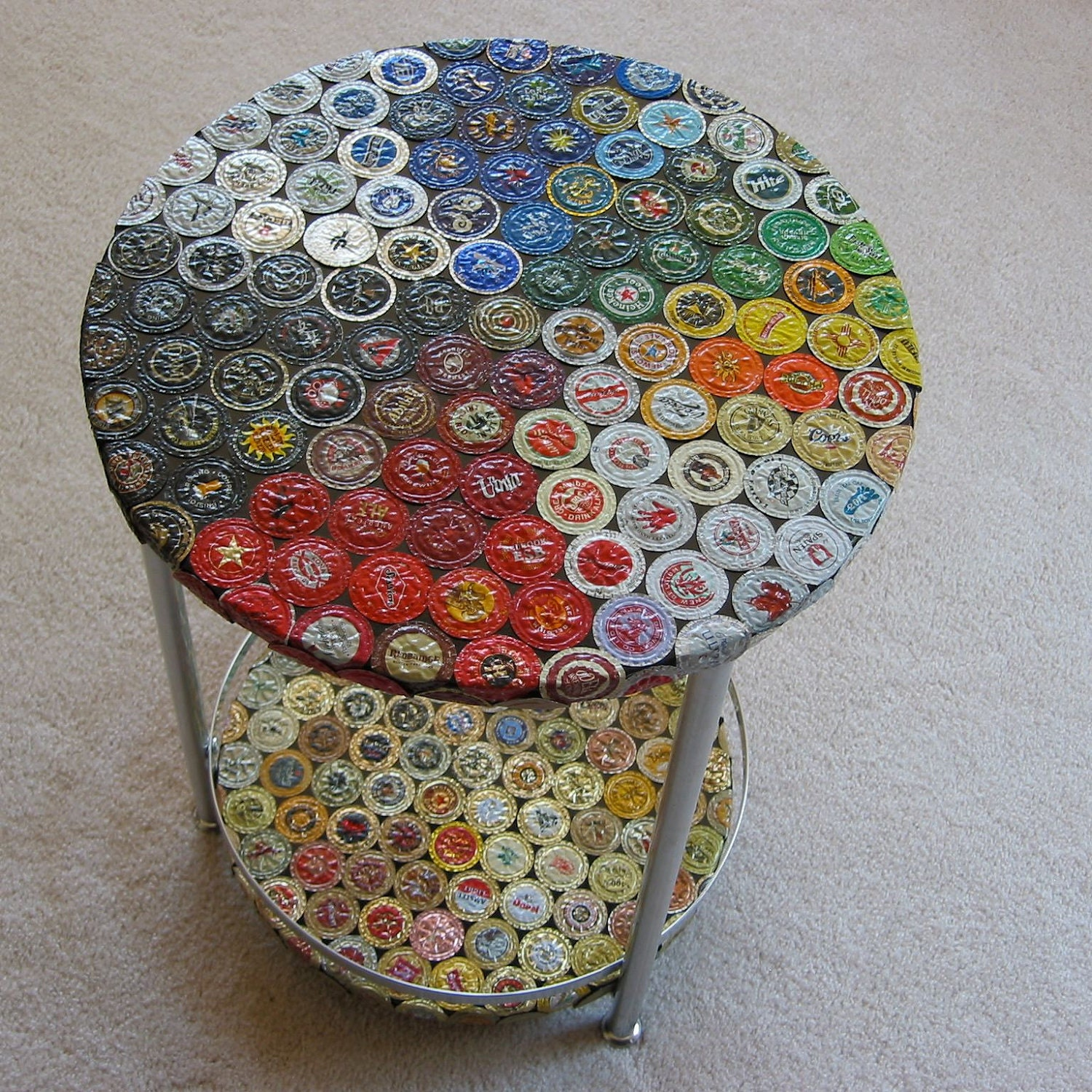 Double decker bottle cap table for What to make with beer bottle caps