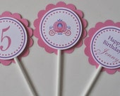 Princess carriage Cupcake Toppers set of 12