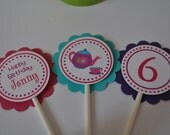 Tea Party cupcake toppers set of 12