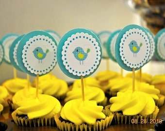 Blue Bird Cupcake Toppers set of 12