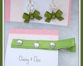 Olive Green Hair Clip and Earring Set