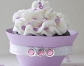 Lavender Cupcake Wrappers with Pink Rhinestones