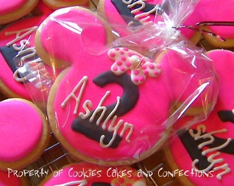 Minnie Mouse Inspired Custom Sugar Cookie Favors (One Dozen)