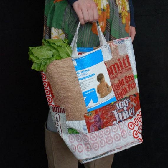 Fused Grocery Bag Patchwork Tote by Reclaimed Wreckage