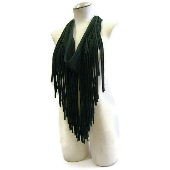 Eco Jersey Fringe Scarf in Forest Green - Ships in 72 hrs of payment