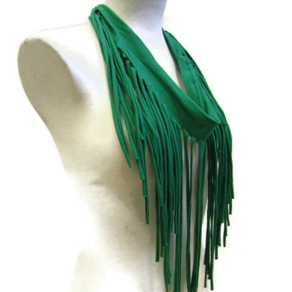 Eco Jersey Fringe Scarf in Green - Ships in 72 hrs of payment
