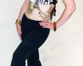 Dancewear Bellydance  Flare Pants Bell Bottoms Side Split  Tribal Gothic Clubwear Sizes small to large Sizes 1x to 4x