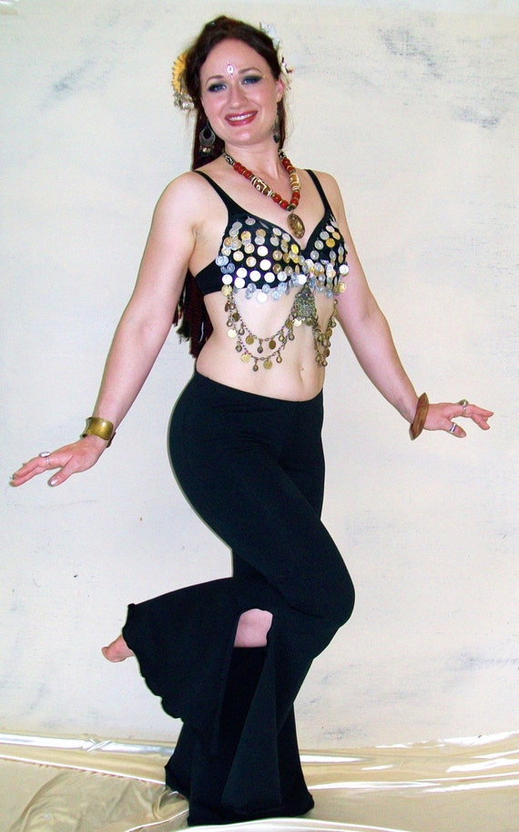 Basic Flare Pants Bell Bottoms Side Split Dancewear Tribal Gothic Clubwear Sizes small to large Sizes 1x to 4x